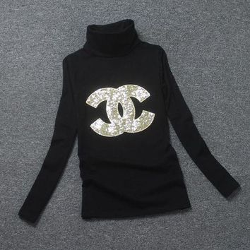 LMFON Chanel Fashion High-Necked Sequins Long Sleeve Shirt Top Tee