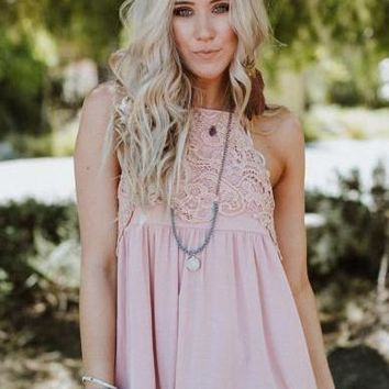 Days Of Being Wild Lace Tank - Pink