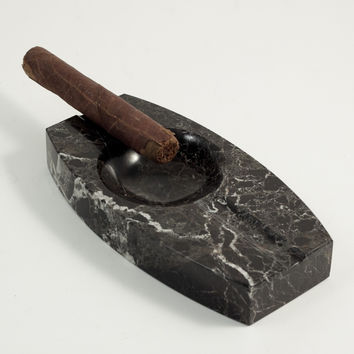 Solid Marble Ashtray, Black