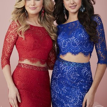 Hannah S 27140 Fitted Lace Two Piece Dress
