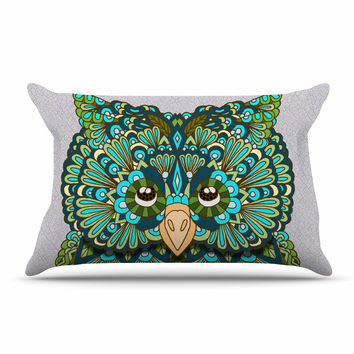 "Art Love Passion ""Great Green Owl"" Teal Gray Pillow Case"