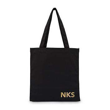 Modern Monogram Black Canvas Tote Bag Tote Bag with Gussets (Pack of 1)