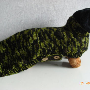 Dog Sweater Hand Knit Standard Daschund Doxie Small dog sweater / daschund clothes / doxie sweater / daschund sweater daschund clothes