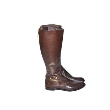 Vintage Brown Riding Boots Brown Leather Boots Tall Boots Brown Riding Boots Via Spiga Boots Size 8
