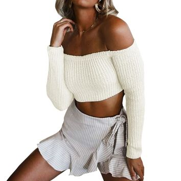 Christmas Sweater Women Cropped Off Shoulder Sweater Feminino Solid Slash Neck Long Sleeve Tops tunics Knitted Pullover female