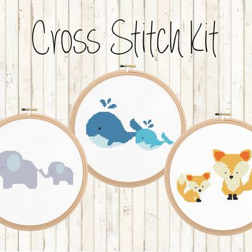 Cross Stitch Kit - Cute Animals - Foxes, Whales, and Elephants