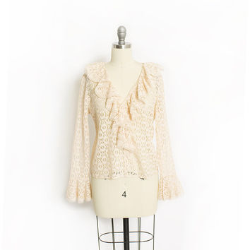 Vintage 1960s Blouse - Nude LACE Sheer Ruffle Top 60s - Medium
