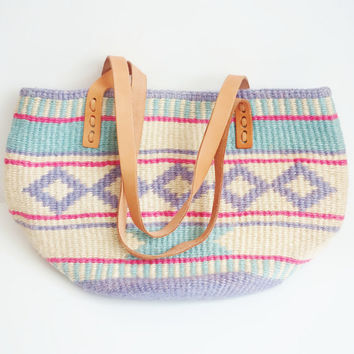 Vintage Jute Tribal print Handbag, Pastel colors, Genuine leather Straps, Canvas interior, Market Tote, Woven, Aztec, Hipster, Southwestern