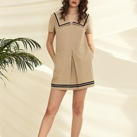 Trimmed Sailor Collar Linen Mini Dress
