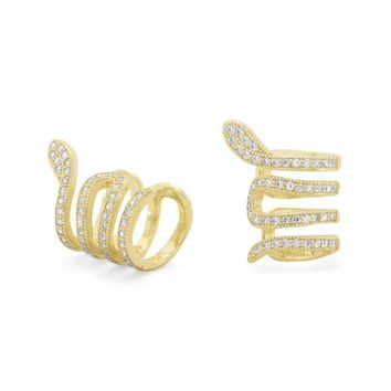14K Gold Plated Snake Ear Cuffs with Signity CZs