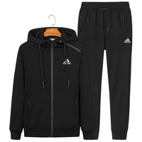ADIDAS autumn and winter new sports and leisure men and women models hooded sportswear two-piece Black
