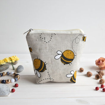 Bees charger bag with zipper, Charger case, Cosmetic pouch, Make Up Pouch, Toiletery bag, Project bag, Travel bag, Coin Purse