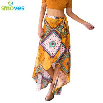 Women Polyester Ankle-Length Asymmetrical Skirts 0936-15