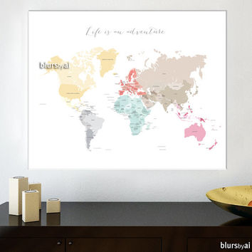 Custom quote, color & size PRINTABLE world map with countries and names, custom pinboard map, custom map for travel pinboard - map026