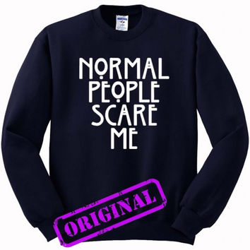 Normal People Scare Me (2) for Sweater navy, Sweatshirt navy unisex adult