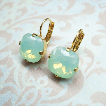 mint green earrings gold plated green diamond Swarovski earrings 87b72c66a