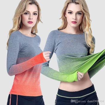 2017 women's long sleeve T shirt women running speed dry breathable sweat round neck fitness clothing