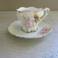 R S Prussia Demitasse Cup Miniature Tea Cup Small Cup Antique R S Prussia Teacup Vintage Tea Cup Rose Cup Pink and Green Tea Cup