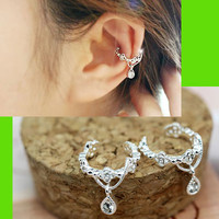 Dangling Flower Crown Rhinestone Ear Cuffs (2 pcs, No Piercing)