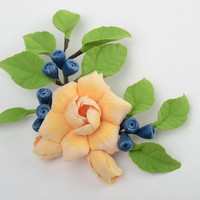 Handmade polymer clay brooch with volume flowers and berries of tender colors