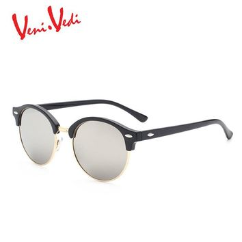 Classic High-quality waterproof coating lens men's sunglasses round vintage Metal rivets men sun glasses oculos de sol masculino