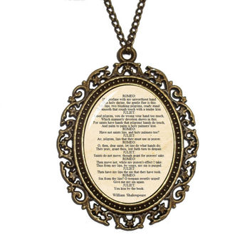 Romeo and Juliet Necklace, William Shakespeare Necklace, Literature Quote, Gift for Book Lovers, Bibliophiles, Literary Gift