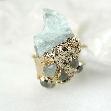 kunzite ring, moonstone ring, natural gemstone ring, gold ring, electroformed, raw kunzite