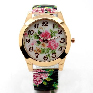 Hot Sale Promotion price Fashion Flower Round Dial  Flexible stretch Band watch Quartz Wrist  Bracelet  Watch Women girl gift