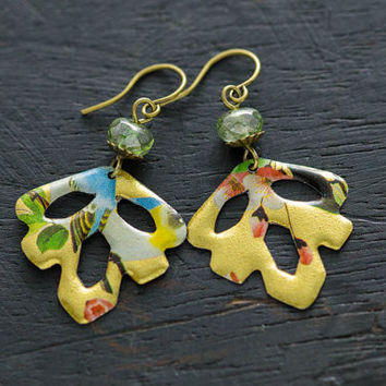 Colorful Vintage Tin Dangle Leaf Earrings with Mint Green Glass Beads and Antique Brass Findings, Nature Inspired Jewelry.
