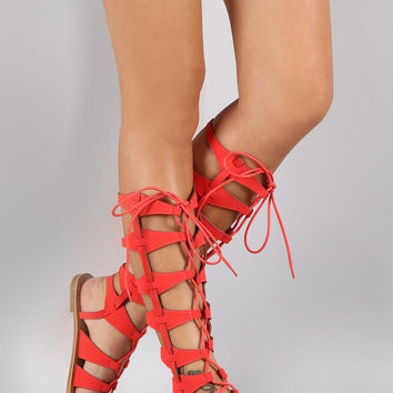 Qupid Nubuck Gladiator Knee High Flat Sandal