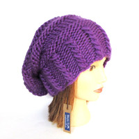 Bright purple slouchy beanie hat slouch hats beanies purple accessory for women chunky knitted hat irish hand knit pure wool hat with button