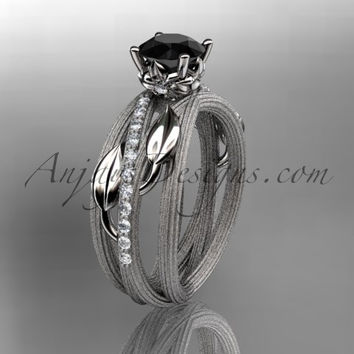 Platinum diamond leaf and vine wedding ring, engagement ring with a Black Diamond center stone ADLR329