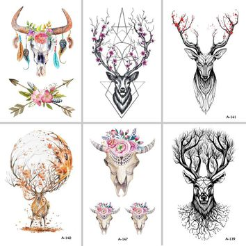 302a8a176 Wyuen Hot Designs Deer Temporary Tattoo For Women Tattoo Body Ar