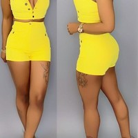 Just Like That Two Piece Denim Shorts Set - Also Available in Blue