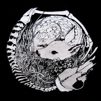 Deer Skeleton Circle Screen Print Back Patch Life and Death Crust Punk