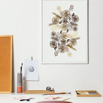 Floral Ornament, Gold Wall Art, Real Gold Foil, Floral Print, Office Decor, Home Decor, House Warming Gift, Floral Poster, Floral Art, 5x7.
