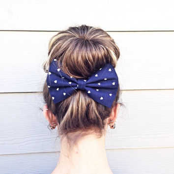 Blue Hearts Bow, Navy French Barrette, Fabric Hair Bow