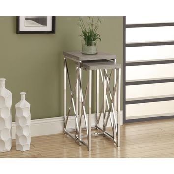 Dark Taupe Reclaimed Look & Chrome 2 Piece Plant Stands