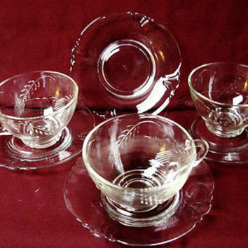 Heisey Glass Wheat Etch and cutting set 3 cup and 4 saucer