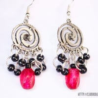 Splendid double spiral silver plated earrings with black glass beads and big pinkish glass bead-Handmade