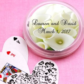12 White Lillies Bridal Shower and Wedding Deck of Cards Favors