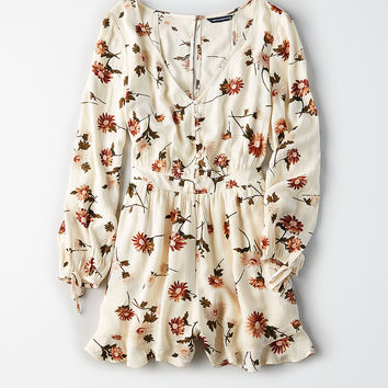 AEO Corset-Back Romper, Cream