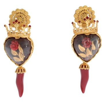 Gold Red Crystal Roses Heart Dangling Clip On Earring