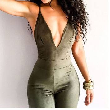 Bodysuit Sexy Club Jumpsuit Rompers Womens Jumpsuit 2016 Sexy Sleeveless Backless Full Length Bodycon Jumpsuits Tight Overalls