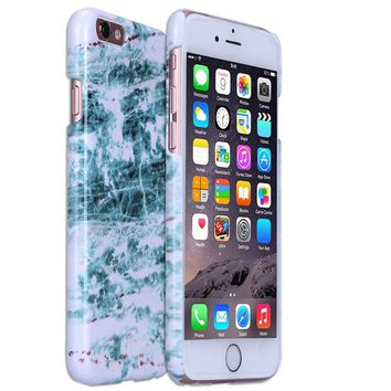 FISHBERG [Marble Pattern]Snap On Cover Glossy Slim Fit Protective Hard Shell Back Case for iPhone 6 6S (4.7 inch Display) (4)