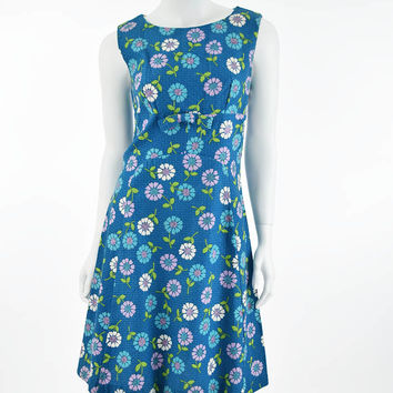 60's Mod Floral Print Scooter Shift Dress-M