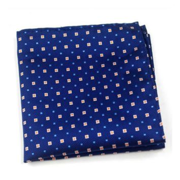 Orange and Light Blue Squares on Blue Pocket Square