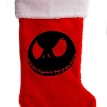 "Negative Jack Skellington Nightmare Before Christmas Holiday Stocking 17"" Red/White Plush Hanging Sock Santa Stuffer Merry Gothmas"