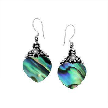 AE-1025-AB Sterling Silver Fancy Shape Earring With Abalone Shell & Pearl