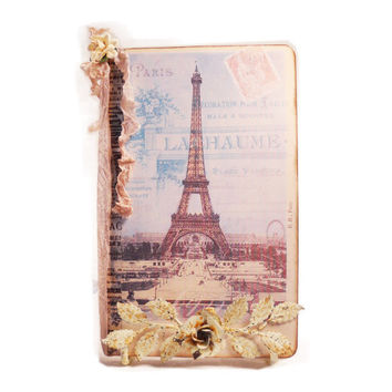 Paris Travel Journal Parisian Pocketbook Moleskine  French Blue Eiffel Tower April In Paris Art Journal Kraft Moleskine